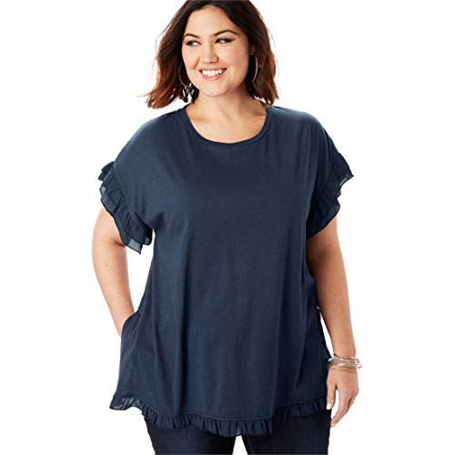 Roamans Women's Plus Size Ruffle-Trim Tee with Side Slits - Navy Sheer, 26/28