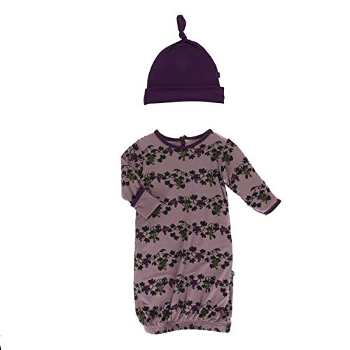 (Kickee Pants Little Girls and Boys Print Layette Gown & Single Knot Hat Set - Raisin Grape Vines, 0-3 Months)