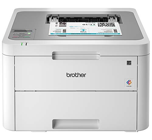 Brother HL-L3210CW Compact Digital Color Printer Providing Laser Printer Quality Results with Wireless, Amazon Dash Replenishment Enabled, White (5 Color Printer)