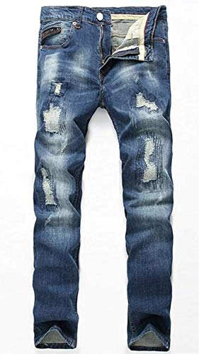 Fashion In Da Blau Giovane 0091 Leisure Uomo Pants Dritti Jeans Classic Denim Ricamati Patch Hole Costosi E T Lightening Slim w7EqxfA