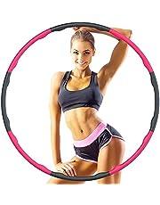 Hoola Hoop Reifen Erwachsene 1.2kg, 6-8 Segmente Abnehmbarer Hoola Hoop Reifen Geeignet Für Fitness/Sport/Zuhause/BüRo/Bauchformung,(1.2Kg) rosa
