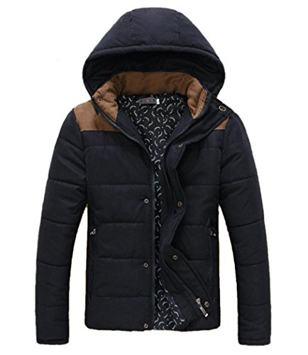 Men's Stand Collar Colorblock Hooded Puffer Coat Black XL (Tag)