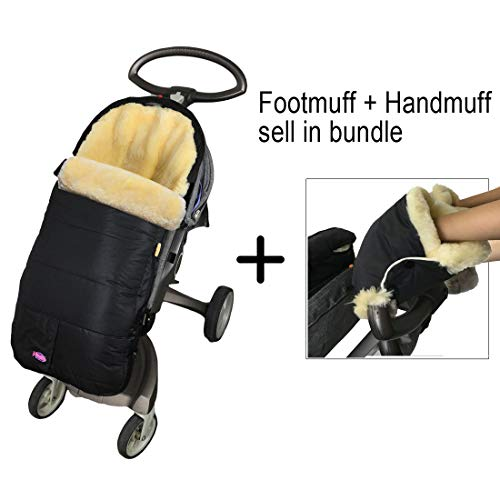 Weather Resistant Australia Anti-Dirty Anti-Bacterial Sheepskin Stroller Bunting Bag Fits All Joggers,Comes with Anti-Freeze Thick Lambskin Fingless Gloves,Footmuff Handmuff in Bundle,Cream (Best Baby Bags Australia)