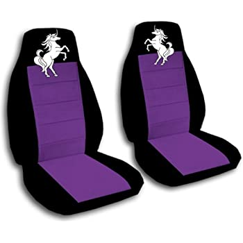 2 Black And Purple Front Seat Covers With A Unicorn 2012 Nissan Rogue Airbag Friendly