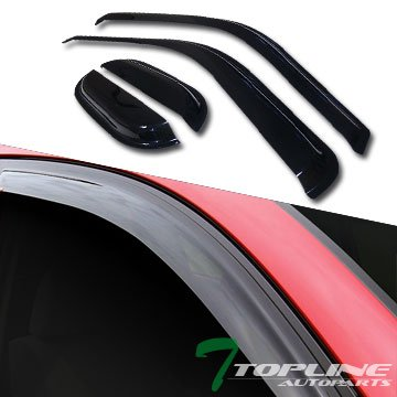 Topline Autopart Smoke Window Visors Deflector Vent Shade Guard 4 Pieces For 99-15 Ford F250 / F350 / F450 / F550 Superduty Super (Extended) Cab ()