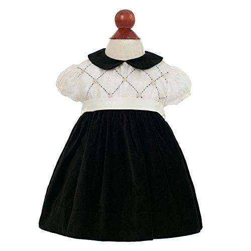 Girls Black White Smocked Dress (Baby Girl's Fancy Holiday Dress - Audrey Hepburn Black & White, 3M)