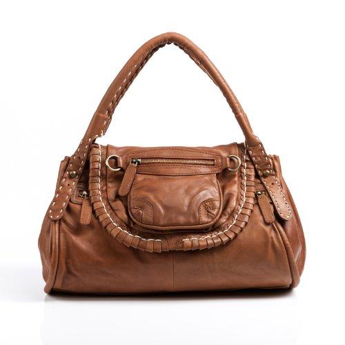 BACCINI bolso de mano GISELE: cartera con asas cortas para mujer - estilo tote-bag gaucho de cuero marrón claro (32 x 29 x 9cm)
