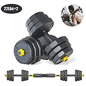 Pinroyal Adjustable Dumbbells Fitness Dumbbell Barbell Combination Set, Adjustable Weight Home Fitness Equipment with Connecting Rod for Every Type Training 44Lbs/ 66Lbs/88Lbs (Pair)