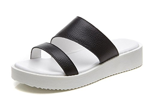 Frau Sommer Mode Sandalen und Pantoffeln flache Hausschuhe Wort Hemmschuhe black