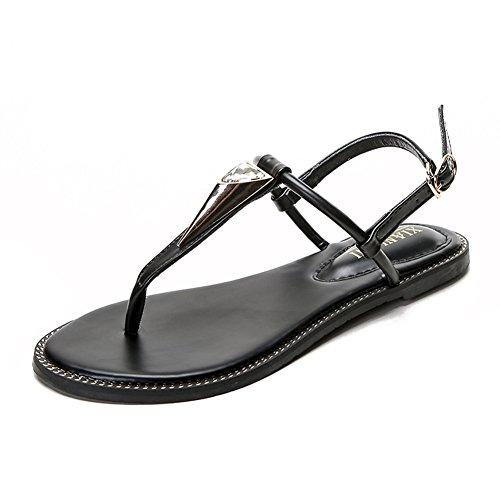 Cybling Kvinners Leiligheter Sandaler T-stropp Ankel Strap Spenne Sommer Thong Strand Sko Svart