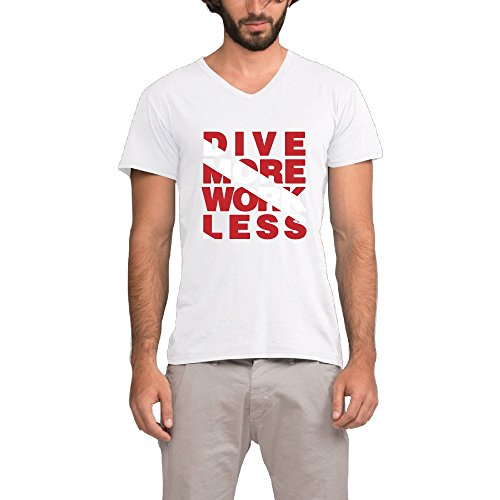 Mens Dive More Work Less Scuba Dive V-Neck Shirt (One Direction Neck Less compare prices)