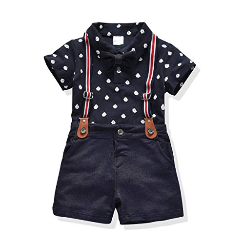 Toddler Boys Clothing Set Gentleman Outfit Bowtie Polo Shirt Bid Pants Overalls (4T, Blue1)]()