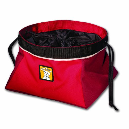 Ruffwear Quencher Cinch Top Travel Food Bowl for Dogs, Red Currant, Medium, My Pet Supplies