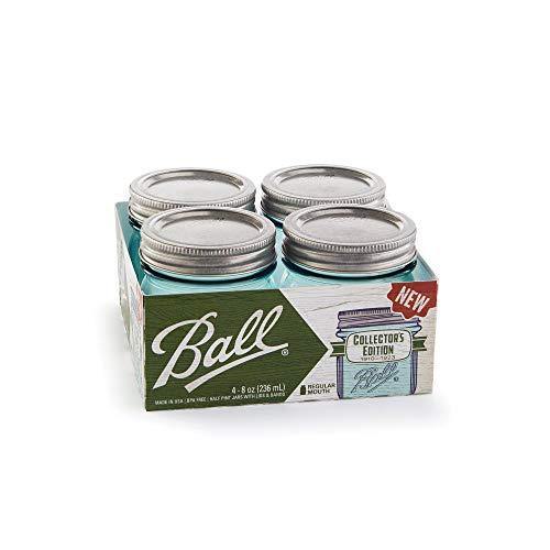 Ball Collector's Edition Aqua Vintage Regular Mouth Half Pint 8-oz. Glass Mason Jars, 4-Pack ()