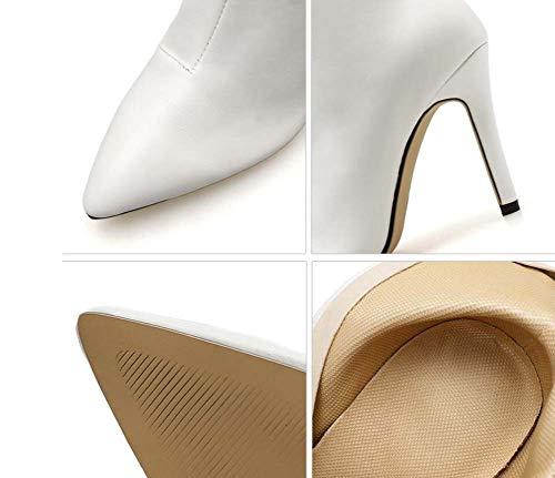 Colore Dimensioni Cerniera Eu White Vestito Punta Bootie Casuale Tacchi Corte Stivaletti 40 Spillo Donne Mamrar 10Cm A Puro Scarpe 35 0fwvHaWZq