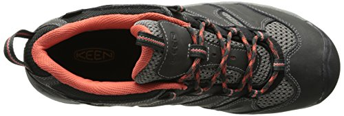 Keen Women's Koven Wp Low Rise Hiking Boots, Grey, 7 W US Raven/Hot Coral