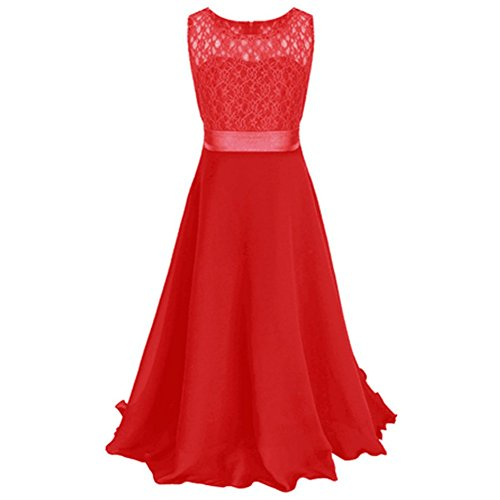Weixinbuy Big Girl's Flower Chiffon Lace Dresses Ball Pageant Long Maxi Gown Red 170 14-15Y