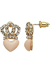 Juicy Couture Pave Crown Stud Earrings with Pink Heart, Gold Tone