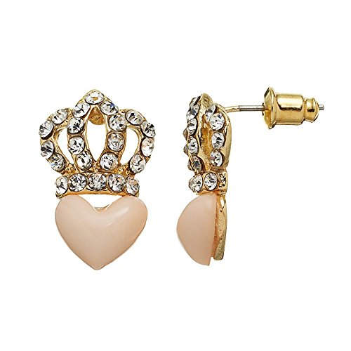 Juicy Couture Pave Crown Stud Earrings with Pink Heart, Gold