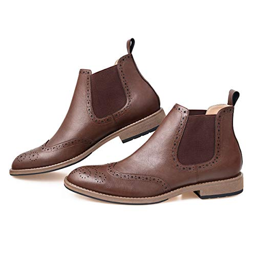 GM GOLAIMAN Men's Chelsea Boots Wingtip Brogue Full Brogue Boots Ankle Dress Boots Slip On Brown 11