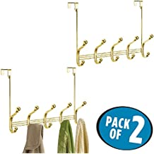 mDesign Over Door 10 Hook Steel Storage Organizer Rack for Coats, Hoodies, Hats, Scarves, Purses, Leashes, Bath Towels & Robes - Pack of 2, Gold/Brass