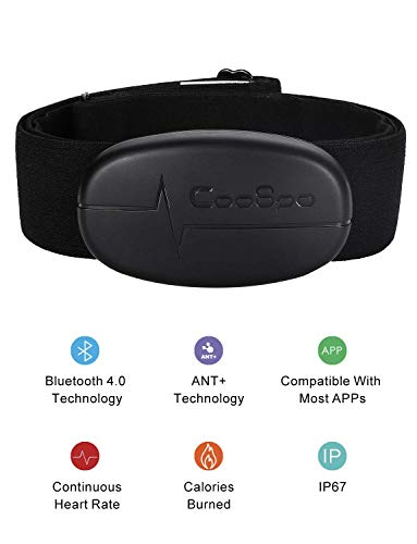 CooSpo Heart Rate Monitor Sensor Chest Strap Bluetooth 4.0 ANT+ Wireless IP67 Waterproof Compatible with Wahoo Zwift iCardio DDP Yoga concept2 pm5