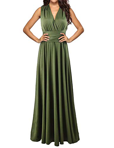Sexyshine Women's Backless Gown Dress Multi-Way Wrap Halter Cocktail Dress Bandage Bridesmaid Long Dress(AG,S) Army Green - Halter Silk Evening Gown