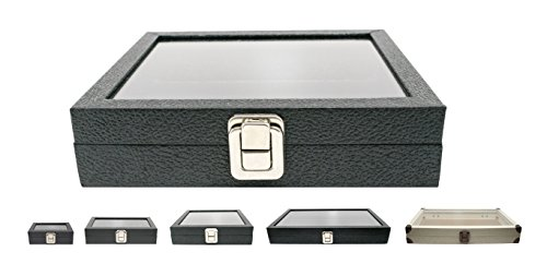 "Novel Box Half-Size Glass Top Black Leatherette Metal Clasp Jewelry Display Case 8.25X7.25X2"" + Custom NB Pouch"