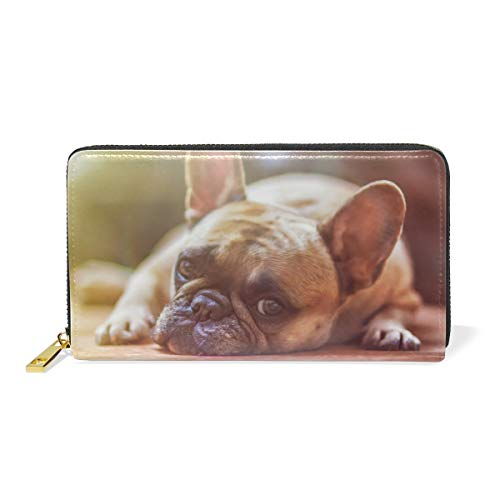 Blue Viper Cute French Bulldog Lying Personalized Leather Long Wallet Zipper Purse Case Card Holder (Purse French Personalized Leather)