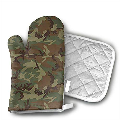 (HiHMJ Woodland Universal Camo Microwave Oven Gloves,Cotton Oven Gloves Heat Resistant Microwave Oven Kitchen Gloves)