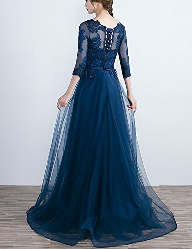 Royal Blue Dresses Prom line A Sleeves Bridesmaid XingMeng Appliques Evening Gowns Half qHvWznPcz