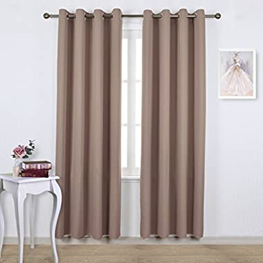 Nicetown Triple Weave Microfiber Energy Saving Thermal Insulated Solid Grommet Blackout Curtains / Panels for Patio (One Pair,52 Inch by 84 Inch,Taupe-Khaki)