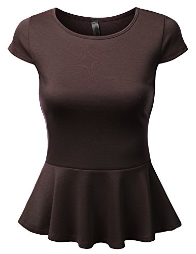 J.TOMSON Women's Short Sleeve Fitted Peplum Top BROWN L
