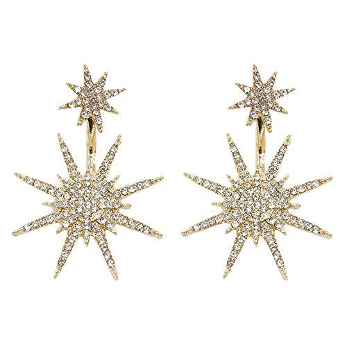 rings Drop Rhinestone Crystal Ear Studs Snowflake Tassel Dangling Earrings Women Girls Cute Wedding Bridal Holiday Delicate Charms Jewelry Dangle Golden Plated ()