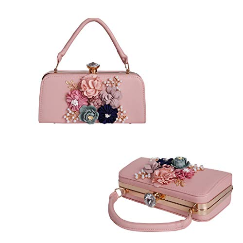 Satin Flower Evening Clutches for Women Pearl Beaded Handbag fo Prom Cocktail ()