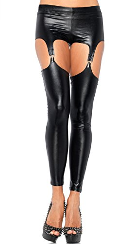 IGIG Women Black Faux Leather Cut out Garter Clip Suspender Leggings Pants