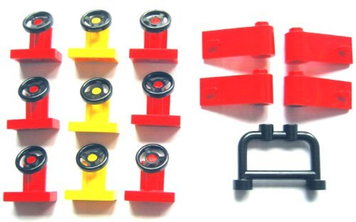 LEGO Parts: Red Doors 1x3x1, Steering Stands 1x2 + Black Bar 1x4x2 for Car / Vehicle - Lot of 14 Loose Parts
