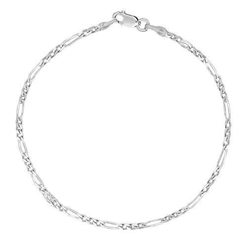 Sterling Silver Italian Figaro Anklet Ankle Bracelet 2.1 Mm 10 Inches