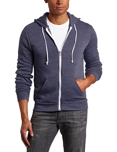 Alternative Men's Rocky Zip Hoodie Sweatshirt, Eco True Navy, Small