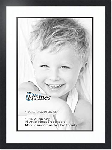 ArtToFrames Collage Photo Frame Double Mat with 1 - 16x24 Openings and Satin Black Frame ()