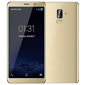Haihuic Unlocked 3G Smartphone, 6.0 inch HD Screen Android 5.1 512MB RAM 4GB ROM Dual SIM Slots Dual Camera Face ID WiFi GPS Bluetooth Gold