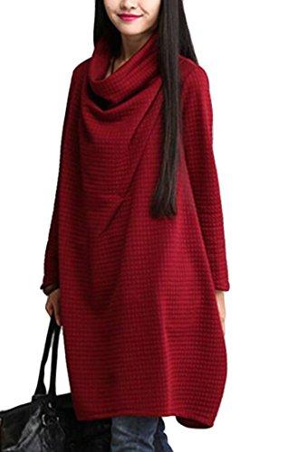 Col Bénitier Occasionnel Des Femmes Cromoncent Détendue Manches Longues Mi Longues T-shirt Robe Rouge Vin