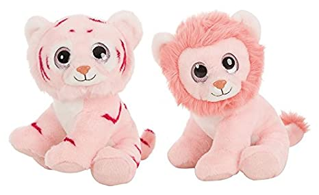BARRADO Plush toys - Light Pink Tiger and light pink Lion with eyes bright 11,