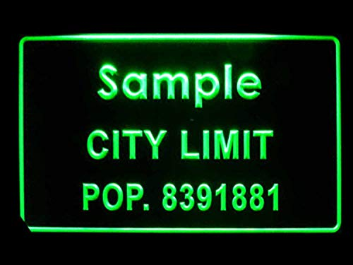 Personalized Custom City Limit Name with Population Decor Neon Sign Green 16x12 inches - Sign Limit Neon