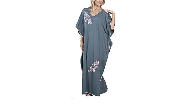 Ladies bordado satén largo caftán camisón talla única se adapta a la mayoría gris gris talla única: Amazon.es: Ropa y accesorios