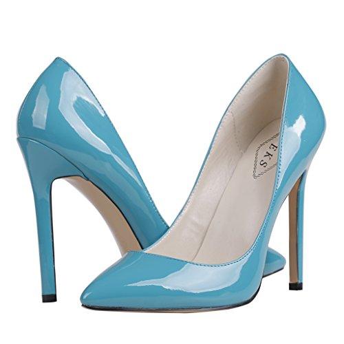 EKS - Merceditas de tacón alto Mujer Azul - Blau-B-Lackleder