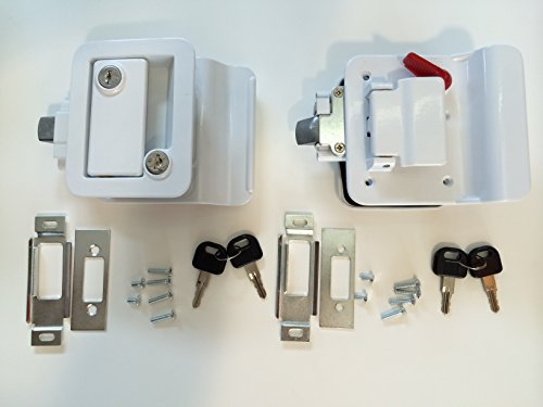Pair Travel Trailer Locks, Polar White Keyed Alike