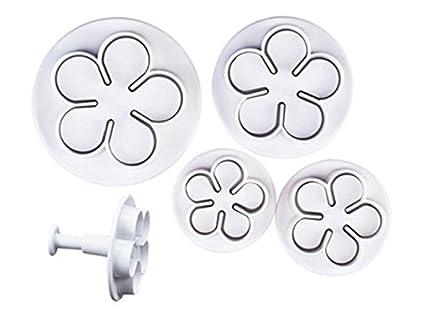 Städter Moldes para galletas con extrusora flores conjunto de 4 de plástico