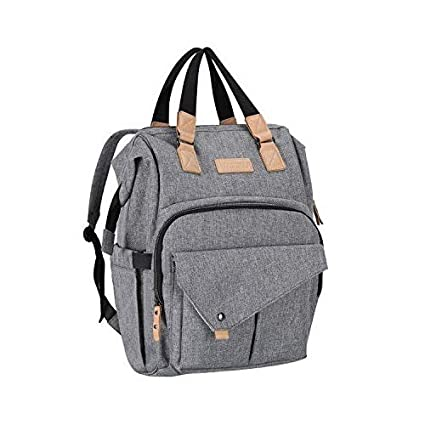 Vanku RFID Blocking Diaper Bag Backpack for Mom Dad with Changing Pad, Stroller Straps, Organizer Pouch and Baby Bottle Insulated Bags Gray OD0201G-A08-A1M