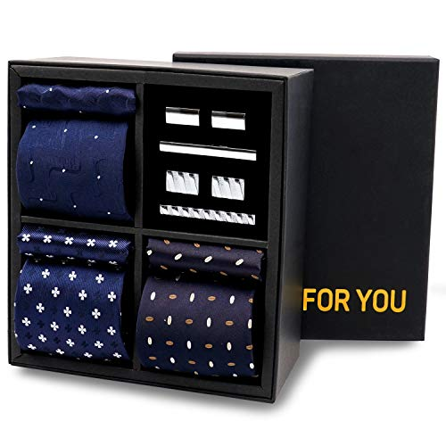 Men's Classic Premium Gift Tie Set Stripe Jacquard Woven Silk Necktie Pocket Squares Tie Clips Cufflinks For Men,Gift Box - ()